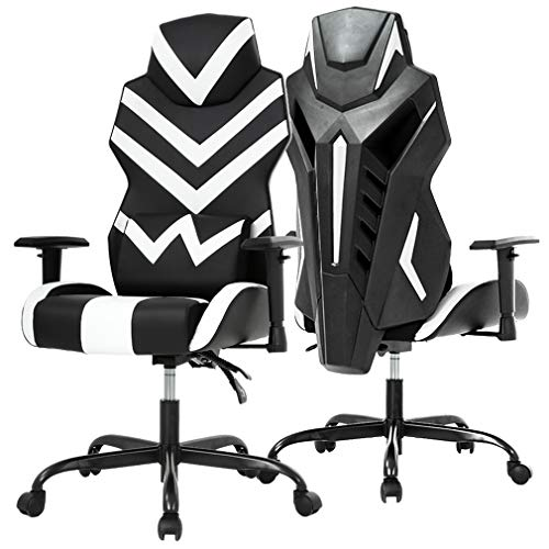 High-Back Gaming Chair PC Office Chair Computer Racing Chair PU Desk Task Chair Ergonomic Executive Swivel Rolling Chair with Lumbar Support for Back Pain Women, Men White