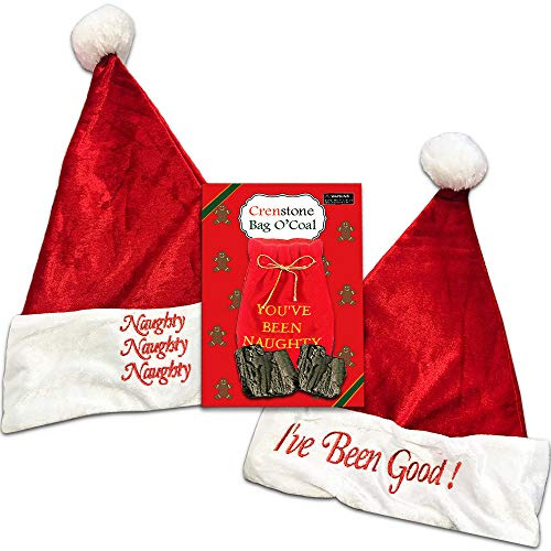 Naughty and Nice Santa Hats Set -- Naughty Santa Hat, Nice Santa Hat and Lump of Coal (Christmas Gag Gifts)