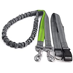 Hands Free Dog Leashes ,Dseap No Pull Lightweight Jogging Dog Leash with Reflective Stitching Bungee Adjustable and control handle Waist Belt for Running Walking Hiking Slip Training. Grey.