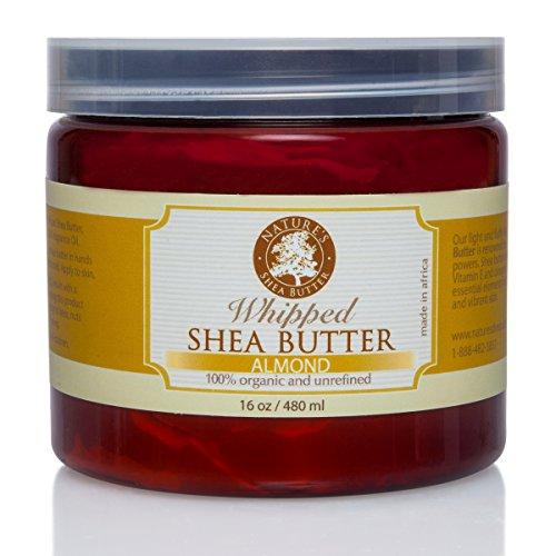 Whipped Almond Organic All Natural Shea Butter - Moisturizer, Anti-Inflammatory and Anti-Aging Properties - 16 oz.