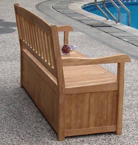 5 feet grade a teak wood outdoor patio bench with storage. Black Bedroom Furniture Sets. Home Design Ideas