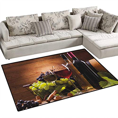 "Wine,Floor Mat,Glasses of Red and White Wine Served with Grapes French Gourmet Tasting,Rugs for Bedroom,Brown Ruby Pale Green Size:55""x63"""