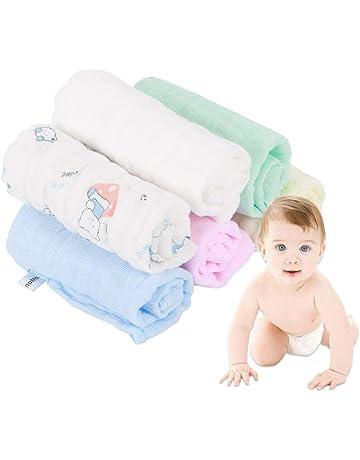 Oceanheart Paquete de 6 Toallitas Bebé, 26 x 26 cm Toallas faciales Muselina recién nacido