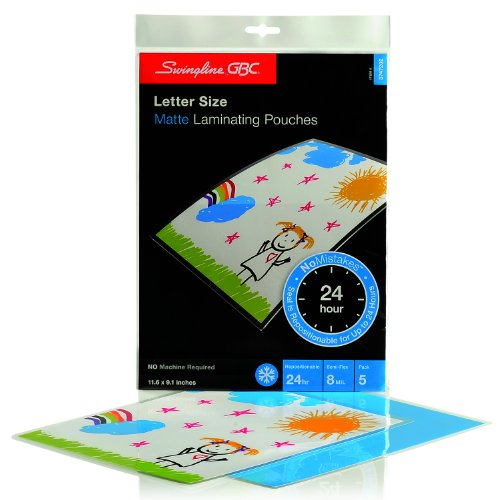 Self Seal Repositionable Laminating Pouches - Swingline GBC Laminating Sheets, Self Adhesive Pouches, Repositionable, Matte, Letter Size, 8 Mil, SelfSeal NoMistakes, 5 Pack (3747202)