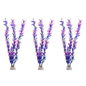 LANDUM 3 Pieces Purple Aquarium Fish Tank Underwater Artificial Water Plant Ornament Decor Purple 36