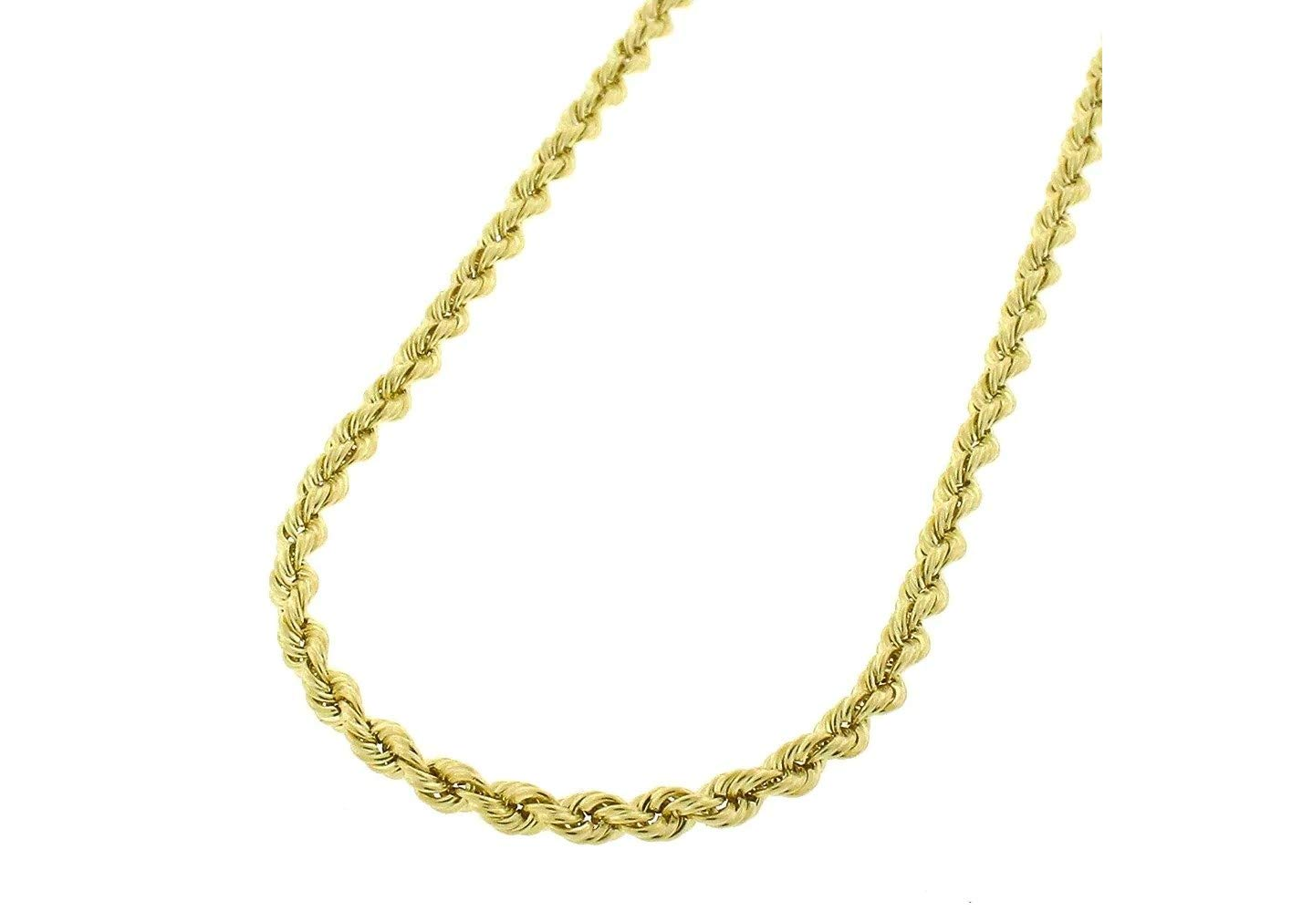 14K Gold 2.5MM 3MM 4MM Diamond Cut Rope Chain Necklace for Men and Women- Braided Twist Chain Necklace 14K Necklace, 14k Rope Chain, 14 Karat Gold Necklace 16-30 (20, 2.5MM)