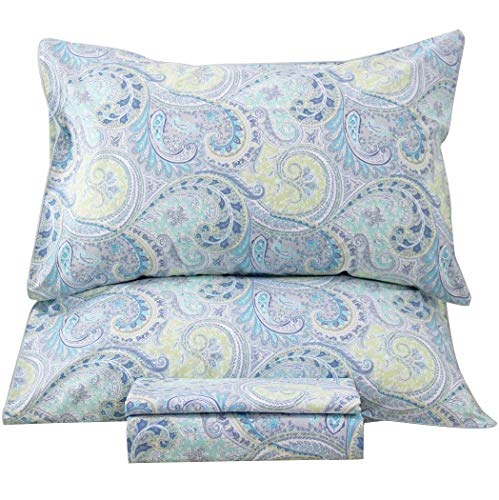 Queen's House Peacock Blue Feather Print Bedding Sheets Set-King,R (Egyptian Cotton Print)