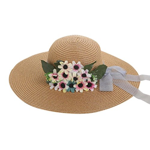 Flower Decor Straw Hat Beach Sunshade Panama Trilby Gangster Foldable by Vertily (A) (Unisex Pocket Marathon One Top)
