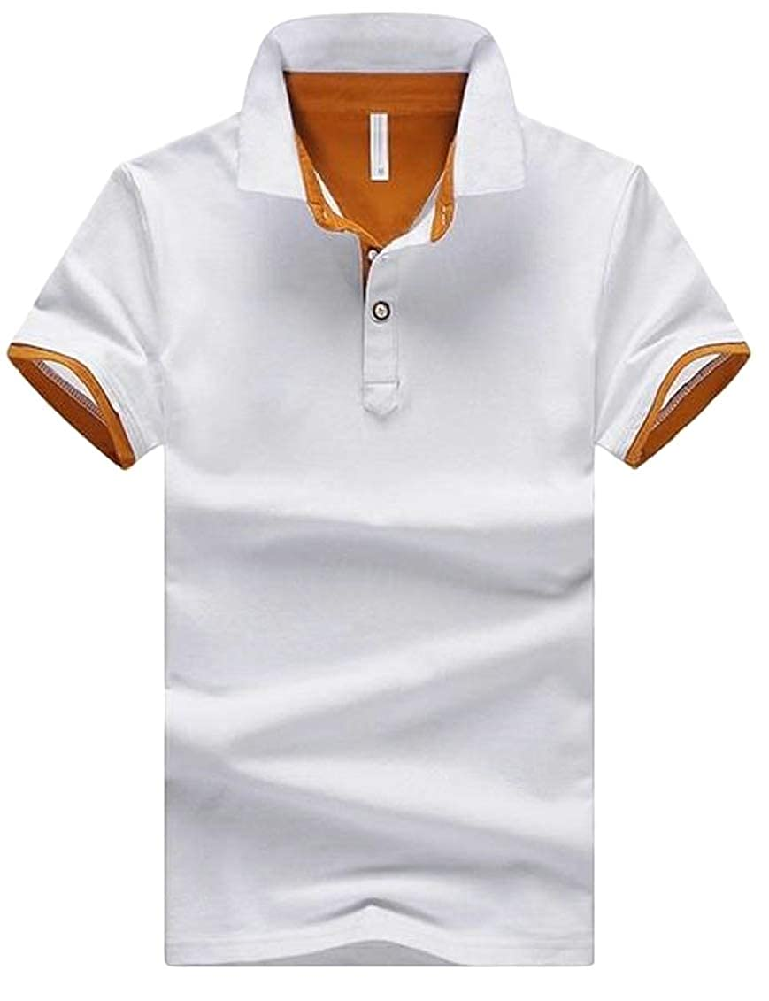 Hajotrawa Mens Business Contrast Color Lapel Neck Button Top Tee Polo T-Shirts