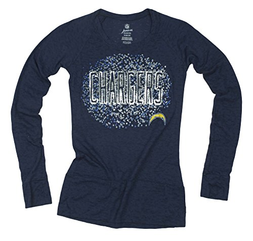 (Outerstuff San Diego Chargers NFL Juniors Women's Galaxy Scoop Long Sleeve Shirt, Navy Blue)