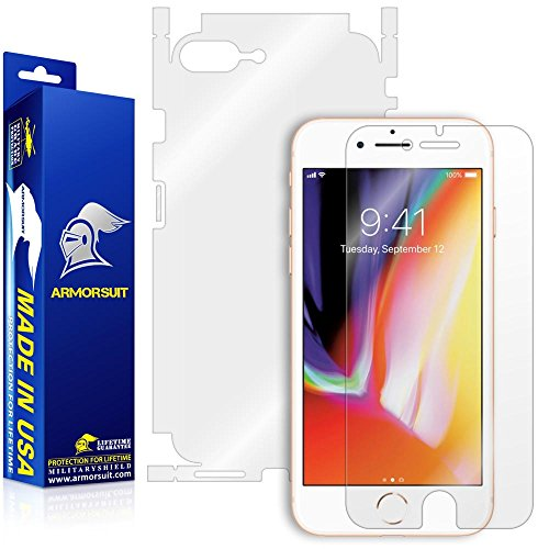 ArmorSuit Apple iPhone 8 Plus Screen Protector + Full Body MilitaryShield Full Skin + Screen Protector Compatible with iPhone 8 Plus - HD Clear Anti-Bubble