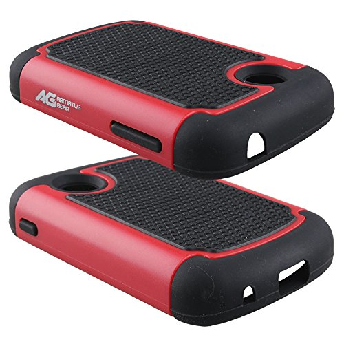LG 306G Case - Armatus Gear (TM) Slim Defender Hex Grid Hybrid Armor Case Impact Resistant Protector Cover For LG 306G / LG 305C (TracFone / NET10 / StraightTalk) - Black/Red