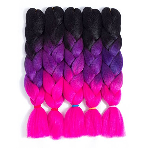 Afro Jumbo Braids Hair Extensions 5-pack 2 Tone & 3 Tone Ombre Crochet Braiding Hair High Temperature Synthetic Fiber for Twist Hair 24inch 100g/pack (Black-Purple-Bright Pink, 50#)