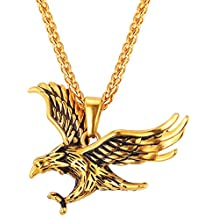 Stainless Steel/18K Gold Plated Chain Cool King Of The Sky Hawk Pendant Necklace