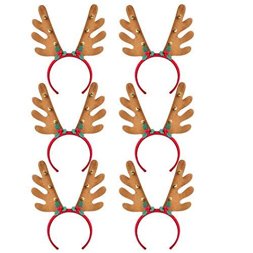 Fascigirl 6PCS Christmas Headband Fashion Antler Leaf Bell Decor Party Headband Hair Hoop Birthday Gifts