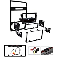 Metra 99-6519B Single/Double DIN Installation Dash Kit for Select Dodge Vehicles (Black) W/ Cache Night Vision Car License Plate Rearview Camera - Black CAM810B