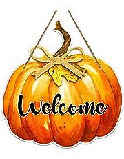 "FLYAB Pumpkin Welcome Sign,11""x 11.5"" Welcome Sign for Front Door,Thanksgiving Hanging Sign for Fall Autumn Harvest Thanksgiving Halloween Door Wall Decoration Indoor Outdoor"