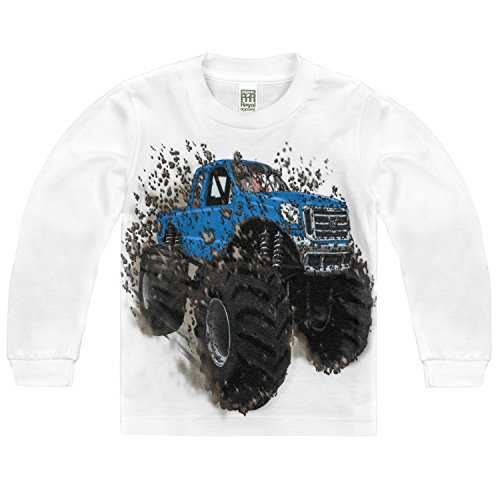 Shirts That Go Little Boys' Long Sleeve Big Blue Monster Truck T-Shirt 4 White (Best Monster Truck Venues)