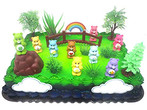 - Care Bears Birthday Cake Topper Set Featuring Care Bear Figures and Decorative Themed Accessories