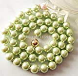 """Anzona Fashion Jewellery 14K 8Mm Pale Yellow South Sea Shell Pearl Necklace Beads Natural Stone 18"""""""