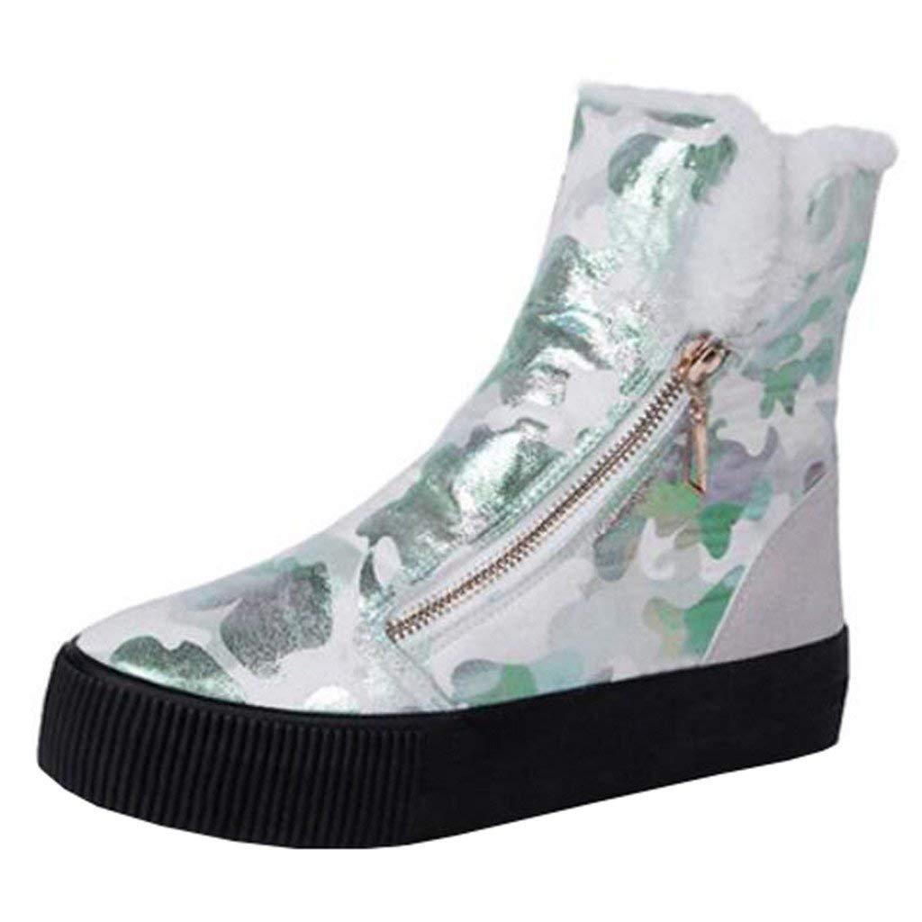 Eeayyygch Frauen Runde-Toe-Plattform-Flache Zip-Pelz-Schneeschuhe (Farbe   Weiß, Größe   2 UK)