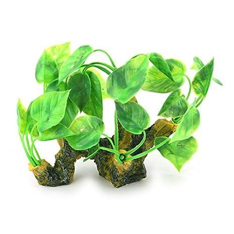 DealMux cerámica plástico Base acuario artificial Landscap agua de la hierba Planta Decoración Verde Amarillo: Amazon.es: Productos para mascotas