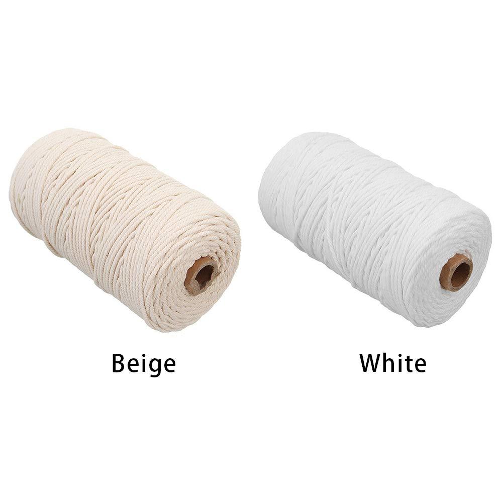 Cordoncino di cotone naturale fatto a mano macram/è lavori a maglia corda artigianale,Beige,3x200m da appendere alla parete corda fai da te tende corda in cotone intrecciato per appendere piante