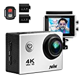 JVIN 4K Action Camera 16MP 170 Ultra Wide-Angle Len Waterproof 2.0 LCD Screen Sports Camcorder 2 Batteries 22 Kinds of Accessories(Silver)