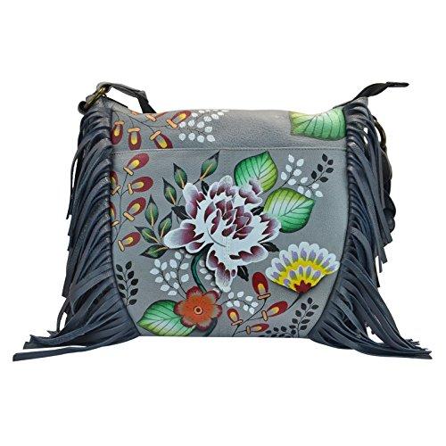 Anna by Anuschka Women's Genuine Leather Medium Fringed Hobo Shoulder bag | Hand Painted Original Artwork | Garden of Eden
