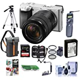Sony Alpha A6300 Mirrorless Camera Silver with 18-135mm f/3.5-6.3 OSS Zoom Lens - Bundle with 64GB SDHC Card, Camera Case, 55mm Filter Kit, Battery, Tripod, Remote Shutter Release, Software, and More