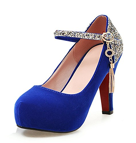 Cheville Aisun Escarpins Paillettes Sexy Bleu Bride Femme wx0q0IrRT