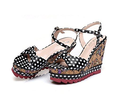 Chaussures à talons femme sandales tressées sandales épais chaussures de cheville de style national ( Couleur : Blanc , taille : 37 ) Noir