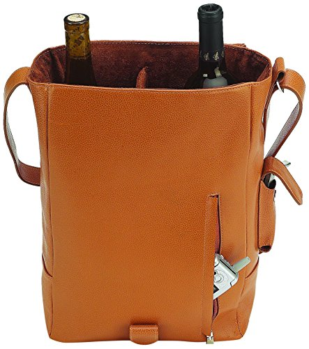 Primeware Vino2 Two Bottles Saddle Leather Wine Tote Messenger Carrier, Brown