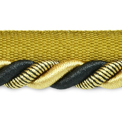 Lip 3/8 Twisted Trim Cord (Expo International 20-Yard Leona Twisted Lip Cord Trim Embellishment, 3/8-Inch, Black/Gold)