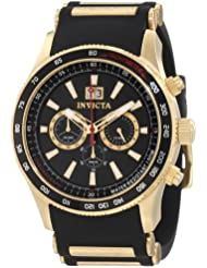 Invicta Mens 1236 Aviator Chronograph Black Dial Black Polyurethane Watch