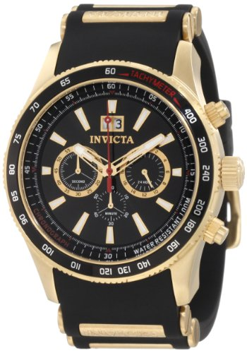 Crystal Accent Gold Tone Key - Invicta Men's 1236 Aviator Chronograph Black Dial Black Polyurethane Watch