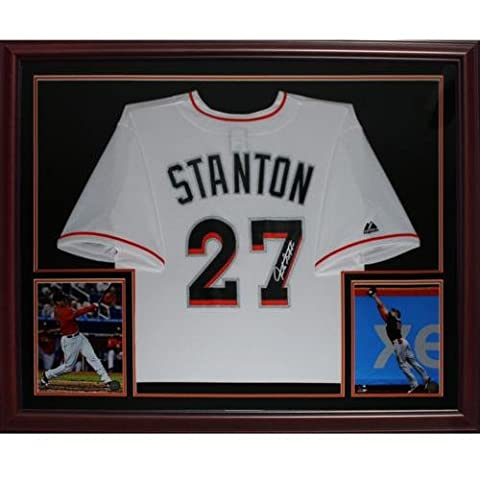 Giancarlo Mike Stanton Autographed Miami Marlins (White #27) Deluxe Framed Jersey - Deluxe Framed Jersey