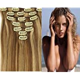 CLIP IN REMY REAL HUMAN HAIR EXTENSIONS 7PCS 18 Inch 70g color 12/613 honey bleach blonde
