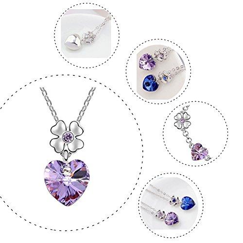 FEDNON Heart Pendant Necklaces Heart Drop Dangel Earrings Bracelet with Violet Australia Crystal Jewelry Sets for Girlfriend by FEDNON (Image #4)