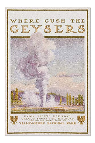 Where Gush the Geysers - Union Pacific - Oregon Short Line Vintage Poster USA (20x30 Premium 1000 Piece Jigsaw Puzzle, Made in USA!) ()
