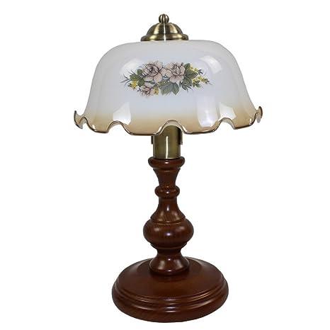 Lámpara de escritorio simple creativo europeo rojo madera ...