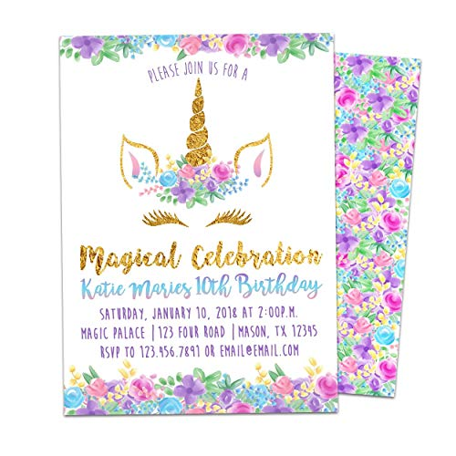 Unicorn Birthday Invitations Floral Gold Girl Face