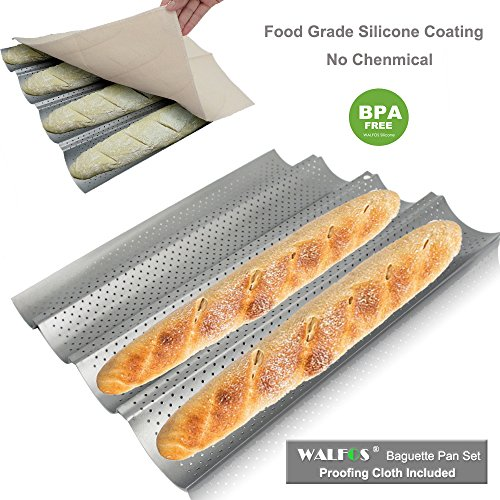 WALFOS Baguette Pan set-Food Grade Nonstick Coating Perforated Baguette Bread Pans for French Bread Baking 4 Loaves, with Professional Bakers Couche Proofing Cloth by Walfos