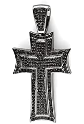 Black Plated Cubic Zirconia Hip Hip Blackout Micro Pave Mens Religious Cross Pendant(3 inch x 1.75 inch)