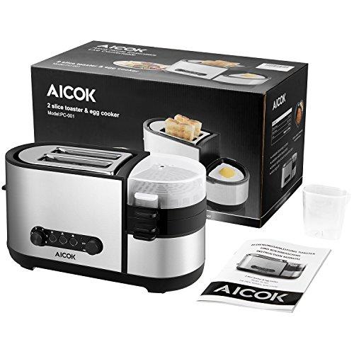 aicok Pan eléctrica, Máquina de pan, sin gluten todo el trigo Panificadora, 1050 W, acero inoxidable, color plateado: Amazon.es: Hogar
