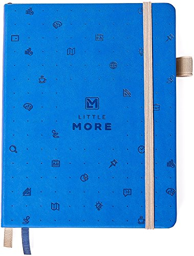 Blue Dotted Notebook Diary - Exclusive Designer Hardcover - Premium Ivory Paper - Pocket Size Bullet Journal - Bonus 30 Hand-made Stickers