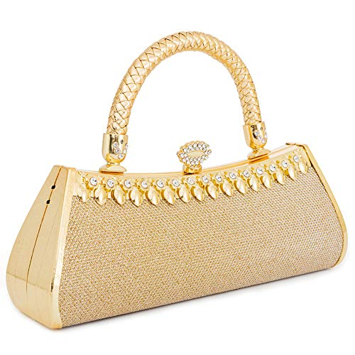 - Womans Evening Clutch Bag Wedding Gold Purse Bridal Prom Handbag Party Bags Metal Frame Hard Case With Glittering Decor(Gold 8)