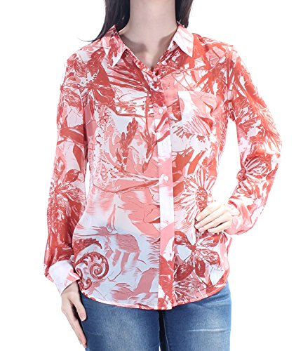 s Printed Sheer Blouse Red XL ()