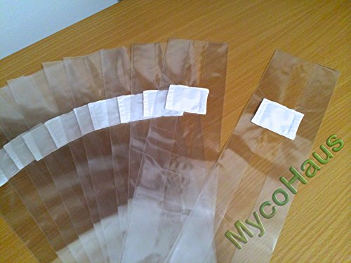 50 QTY Small Size 4'' x 3'' x 18'' Sealable Spawn / Myco Bags With 0.5 Micron Filter Designed for Mushroom Cultivation Growing