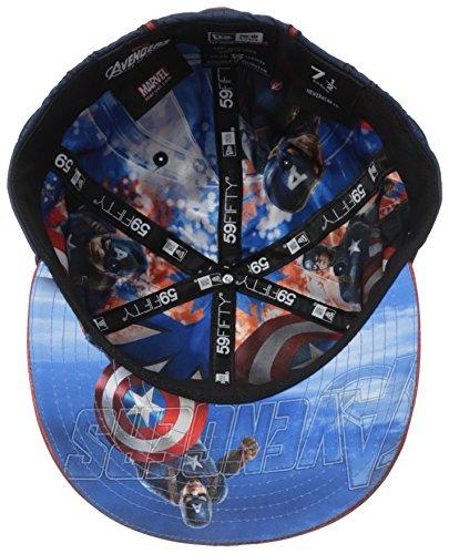 ae128127 New Era Cap Men's Captain America Character Armor 59Fifty Cap, Blue/Grey,  ...